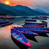 Boats in Fewa Lake in Pokhara
