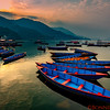 Boats in Lake Fewa in Pokhara