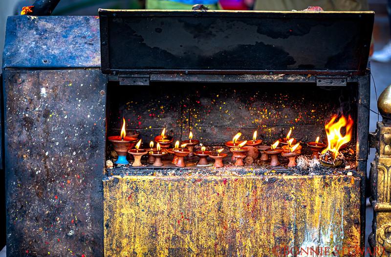 Prayer candles at the Monkey Temple in Kathmandu