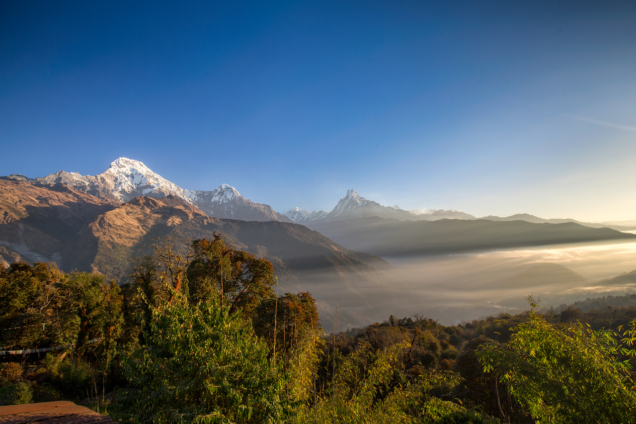 View towards Machapuchare (Fishtail Mountain),  Annapurna III and Annapurna South
