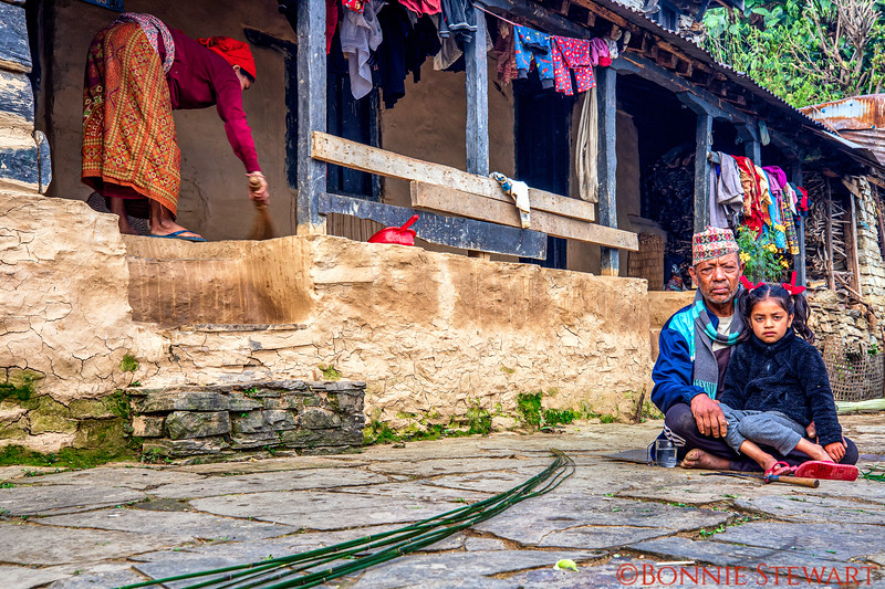 Local family in daily living in Ghandruk village in the mountains.