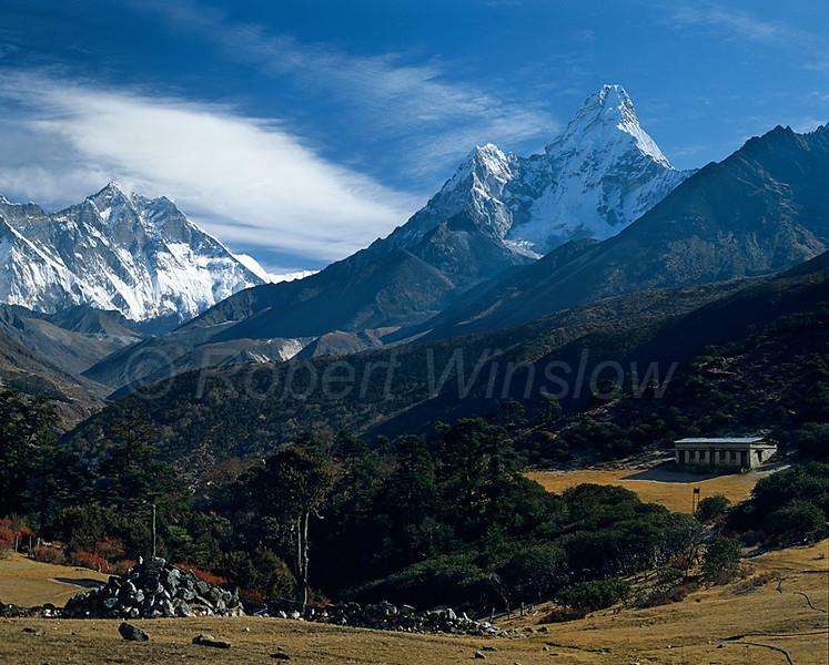 Ama Dablam, Himalayan Mountains, Khumbu Region, Nepal, Asia, 6x7 medium format image