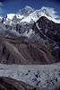 Mount Everest, World's Highest Mountain, 29,029 feet,8848 meters, Himalayan Mountains, Nepal, Asia,  Sagarmāthā (Nepali), Chomolungma or Qomolangma (Tibetan) or Zhumulangma (Chinese),  Ngozumpa Glacier in foreground