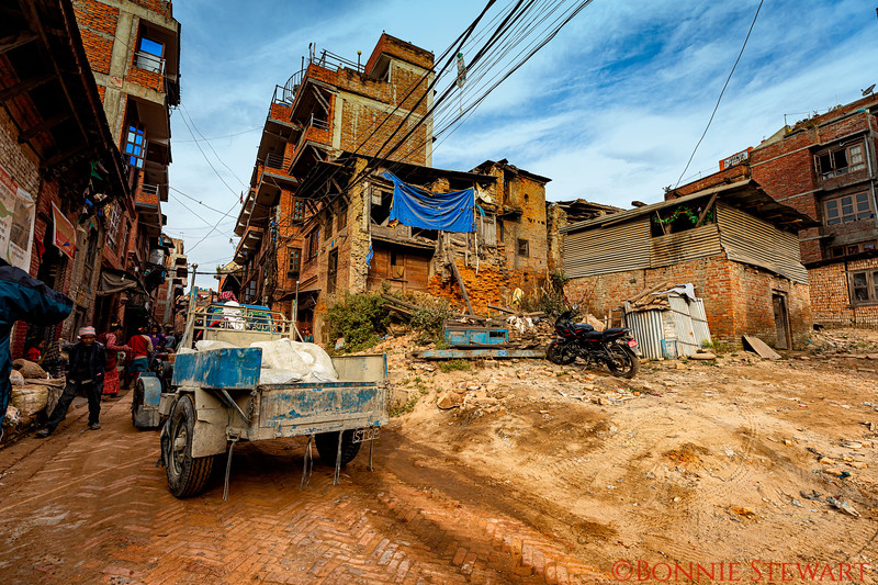 Street scenes in Bhaktapur showing some earthquake damage from 2015