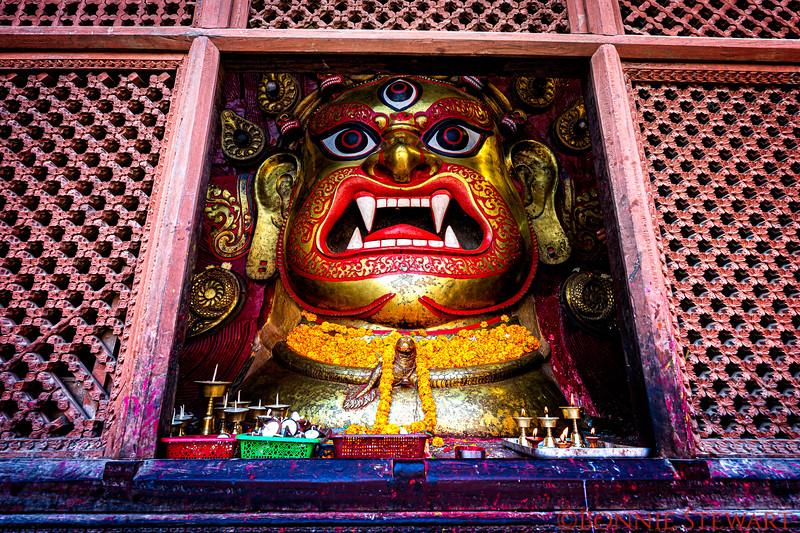 White Blairav statue, reincarnation form of Shiva,  in Durbar Square in Kathmandu