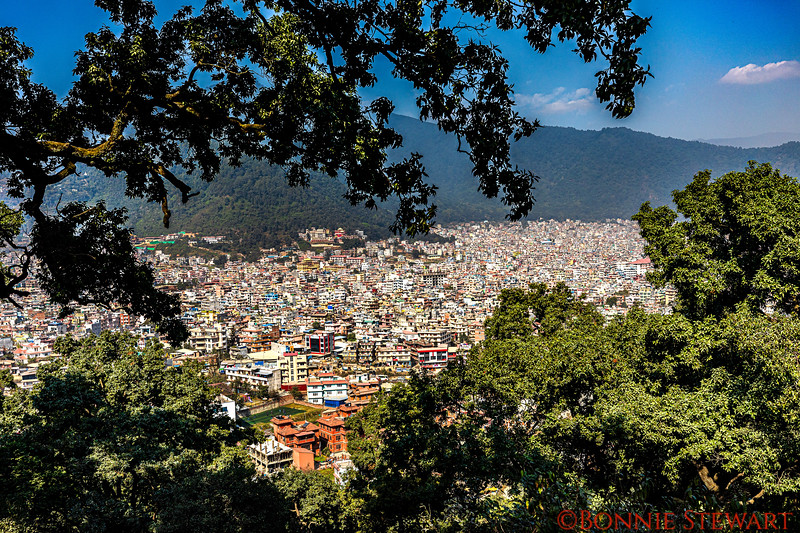 "View of Kathmandu from the  ""monkey temple"" or the Swayambhunath Stupa"