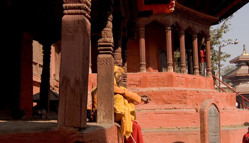 Sadhus hang out around Durbar Square striking meditative poses. But if they catch your lens on them, they demand cash.