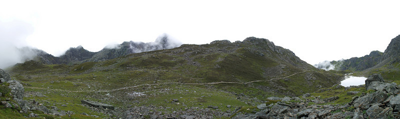 Panorama on the top of Langtang trek. 4.700 meters