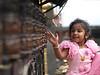 Cheerful child in the Monkey temple at Katmandu