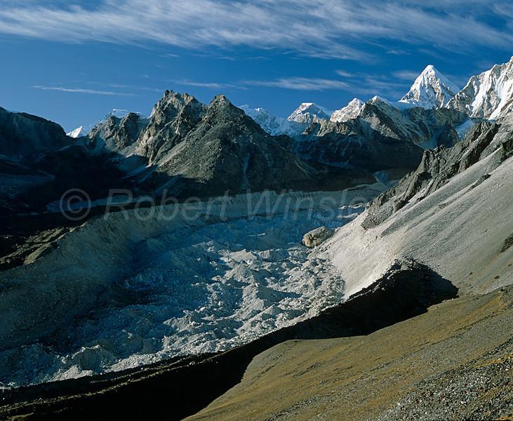 Nuptse Glacier, Himalayan Mountains, Khumbu Region, Nepal, Asia, 6x7 medium format image taken from Chukung Ri.