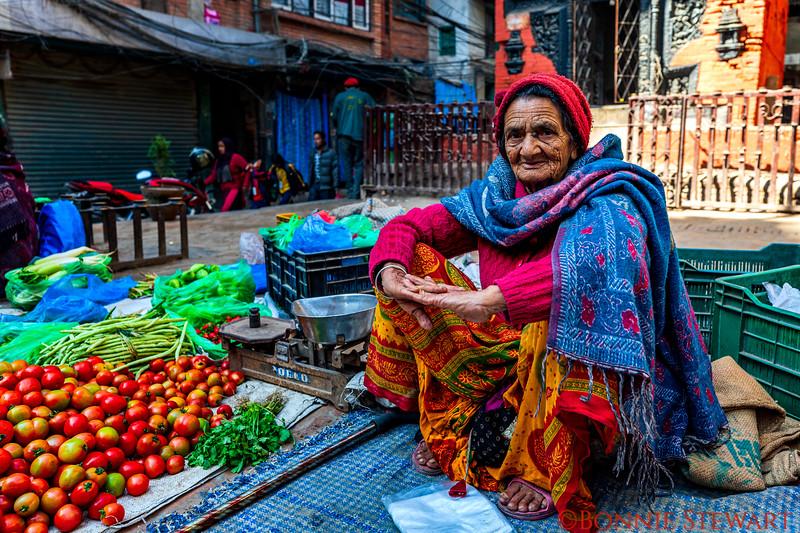 Local vendor in the Kathmandu market in Durbar Square