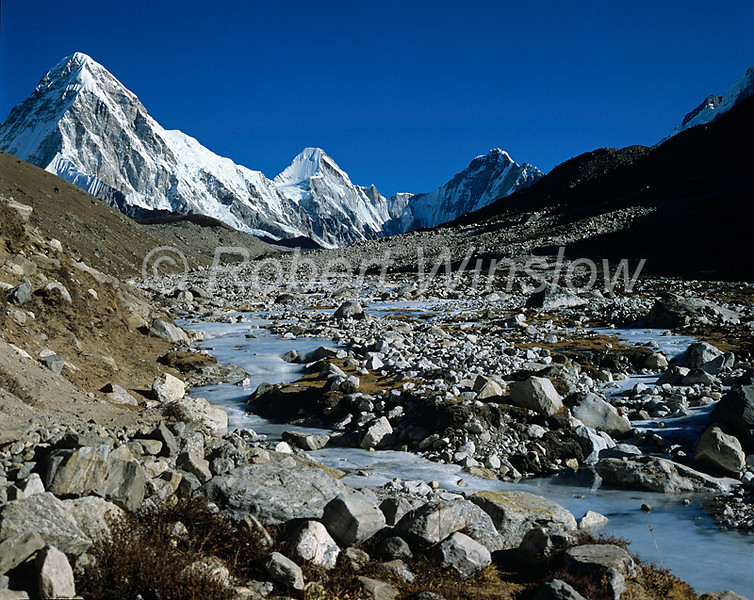 Stream coming off of the Khumbu Glacier, Pumori in the background,  Khumbu Region, Himalayan Mountains, Nepal, Asia, 6x7 medium format image