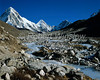 Stream coming off of the Khumbu Glacier, Pumori in the background,  Khumbu Region, Himalayan Mountains, Nepal, Asia, 6x7 medium format image