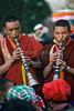 Buddhist Monks Playing Music, Mani Rimdu Buddhist Festival, Tengboche Monastery, Nepal, Asia