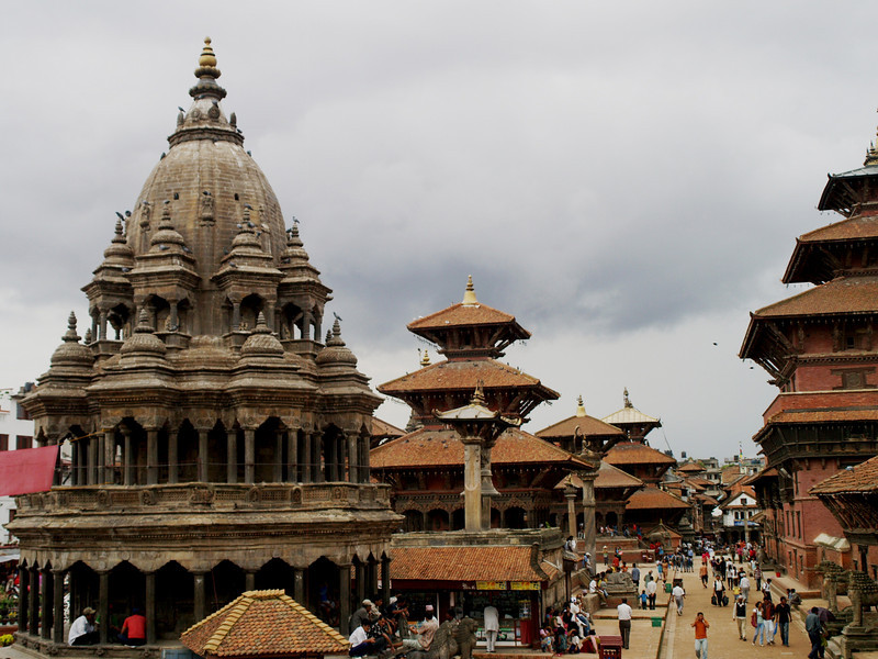 Crowded Durbar Square in Patan