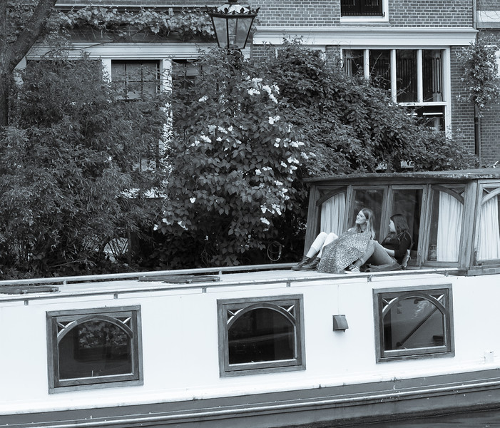 Relaxing on a Boat on the Canals in Amsterdam