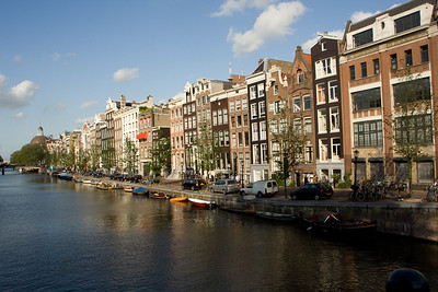 Beautiful houses along the Herengracht canal. Most of these houses were built in the 16-1700s.