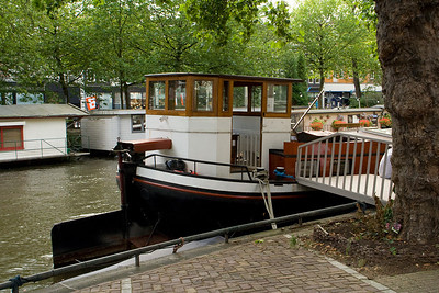 Back in Amsterdam: This is one of our neighbor boats on the canal.
