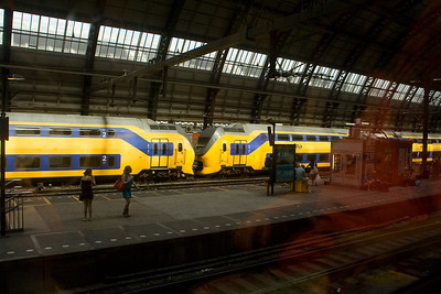 Amsterdam Centraal train station. The trains were very reliable, efficient, and fast. But usually not air-conditioned, or well-ventilated.