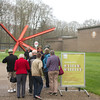 Kröller-Müller Museum: Guide with group, toward K-piece by Mark Di Suvera
