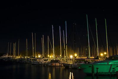 Night Shot of Harbor in Lemmer