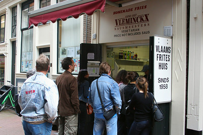 Lining up at Vleminckx located in a side street for the best Belgian fries in the Amsterdam.