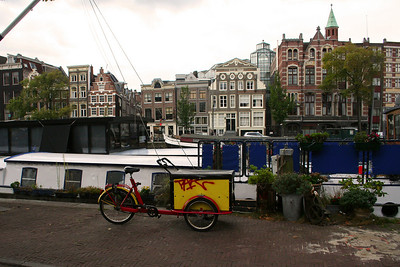 One of the many house boats - this one has a small garden and bicycle parked.