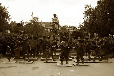 Rembrandtplein (Rembrandt Square) - Rembrandt statue and the Nightwatch - reenactment of the famous Nightwatch painting by Rembrandt.