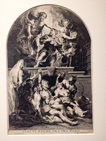Reproduction (by Paulus Pontius) of Paul Rubens's Christ Appointing Saint Roch as Patron Saint of Plague Victims.