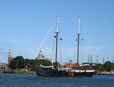 A closer look at one of the boats - old city of Enkhuizen in the background.