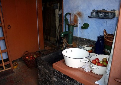 Inside an old cottage - the walls are painted a special blue to keep the flies away.