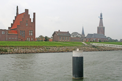 Closer view of Medemblik - Town Hall, Railway Station and Church