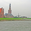 Medemblik - Town Hall on the left - then the railway station - church spire in background - then windmill