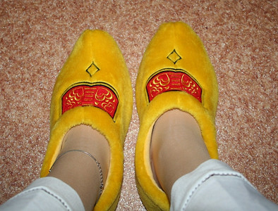Ed & Liesbeth's gift - clog slippers - very warm and cosy !! Love them !