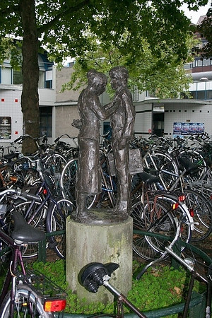 The first thing I noticed about Haarlem was bikes, and more bikes.  As we came out of the railway station we saw this statue in a small park surrounded by bikes.