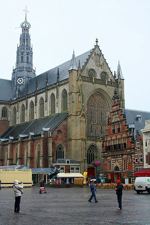 The Grote Markt with Sint-Bavokerk Church - built in the 1500's - the Vleeshal (Meat Hall)stands directly in front of the church.