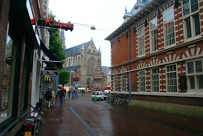 Looking down the street to St Bavo Church and the Vleeshal (Meat Hall).