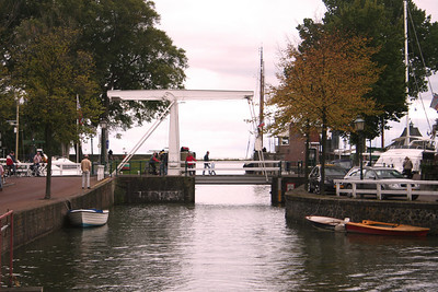 Old drawbridge over canal in Hoorn.