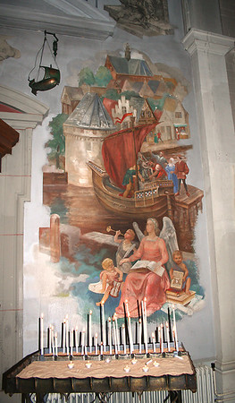 Another mural inside St Cyriacus en Franciscus church - reflecting Hoorn as a seafaring city.