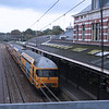 Looking over the other side of the railway bridge onto part of the platform of Hoorn Railway Station.
