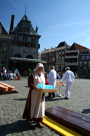 Traditional Dutch lady serving drinks