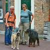 Walking the dog - two people stop to chat.