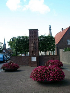 Medemblik War Memorial - churches in background.