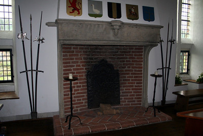 One of the fireplaces in Knight's Hall. From 1608 to 1661 the executive committee was located in Knight's Hall. From 1661 until 1734 this large hall was used as a church, when the arched windows were installed.  After that period the executive committee came back to have their residence here.   After 1823 the hall was used for many different purposes: musical performances, gymnastics etc.  It was even used for a short period as a hospital ward for psychiatric patients.