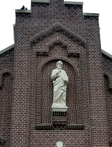 We walked past this statue on a building near the church.