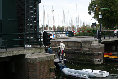 I almost missed this photo - this is why it is not a good one - the drawbridge is up allowing the boat to pass through to Medemblik Marina.