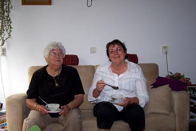 Co & I enjoying her Dutch home style soup - I had four cups - photo taken by Liesbeth.