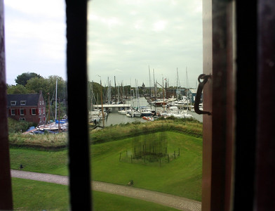 View of the Muiden Marina through a castle window.
