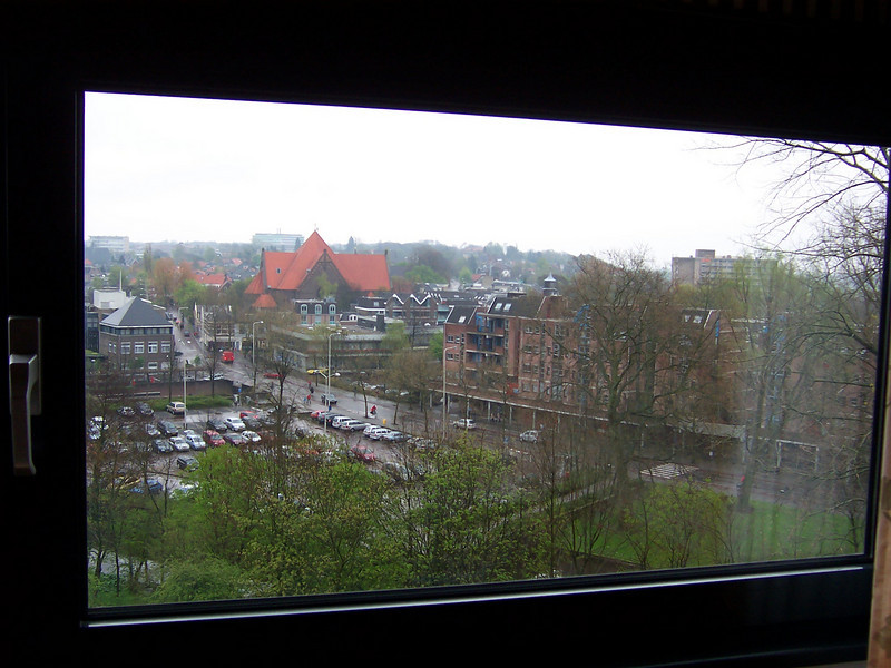 looking out the window of the conference center residence