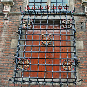 Ornamental grate over a window on the old Town Hall